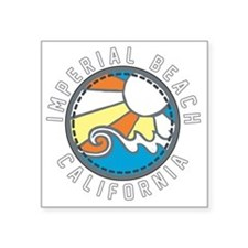 "Imperial Beach Wave Badge Square Sticker 3"" x 3"""