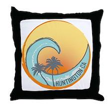 Huntington Beach Sunset Crest Throw Pillow