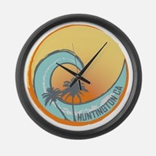 Huntington Beach Sunset Crest Large Wall Clock