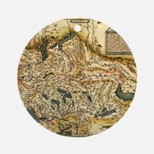 Ortelius's map of Switzerland, 1570 Round Ornament