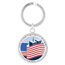 9/11 We will never forget Round Keychain