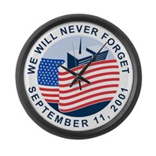 9/11 We will never forget Large Wall Clock