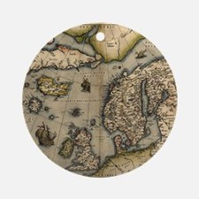Ortelius's map of Northern Europe,  Round Ornament