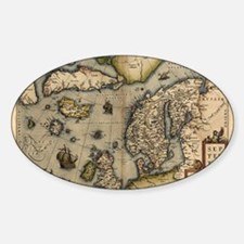 Ortelius's map of Northern Europe,  Sticker (Oval)