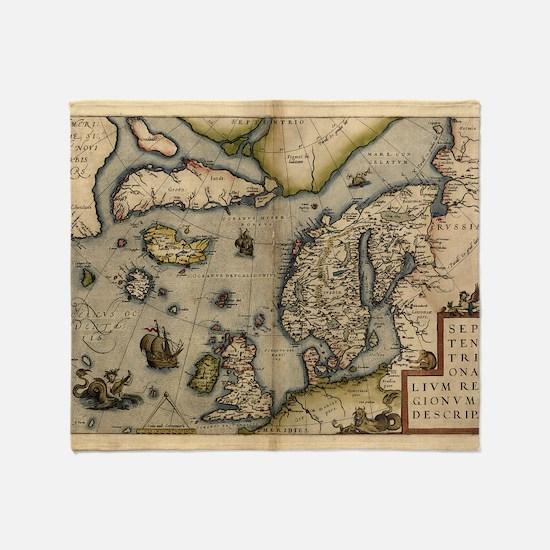 Ortelius's map of Northern Europe, 1 Throw Blanket