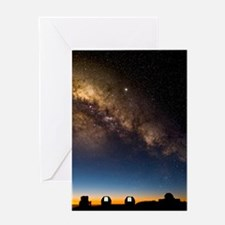 Milky way and observatories, Hawaii Greeting Card
