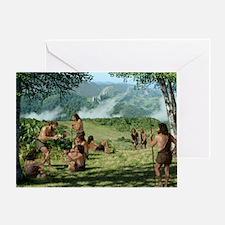 Neanderthals in summer, artwork Greeting Card