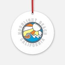Moonlight Beach Wave Badge Round Ornament