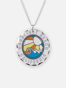 Moonlight Beach Wave Badge Necklace
