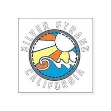 """Silver Strand Wave Badge Square Sticker 3"""" x 3"""""""