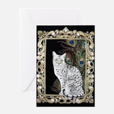 Silver Egyptian Mau Greeting Card