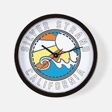 Silver Strand Wave Badge Wall Clock
