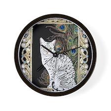 Silver Egyptian Mau Wall Clock