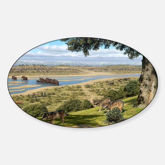 Neanderthal landscape, artwork Sticker (Oval)