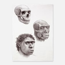 Neanderthal skull, muscles and head 5'x7'Area Rug