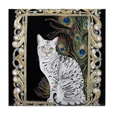 Silver Egyptian Mau Tile Coaster