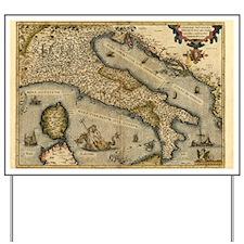 Ortelius's map of Italy, 1570 Yard Sign
