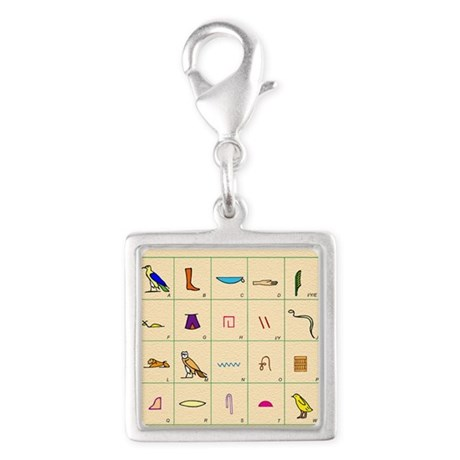 Phonetic Egyptian hieroglyphs Silver Square Charm