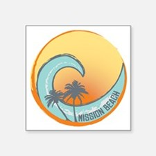 "Mission Beach Sunset Crest Square Sticker 3"" x 3"""