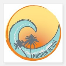 """Mission Beach Sunset Cre Square Car Magnet 3"""" x 3"""""""
