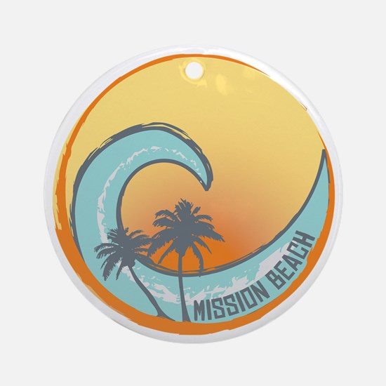 Mission Beach Sunset Crest Round Ornament