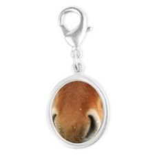 Icelandic Horse Silver Oval Charm