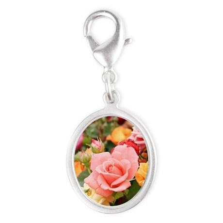 Roses Silver Oval Charm