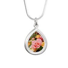 Roses Silver Teardrop Necklace