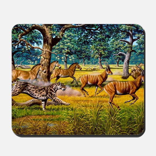 Sabre-toothed cat chasing prey Mousepad