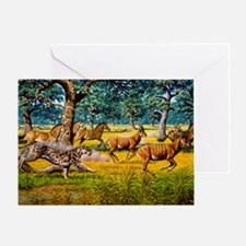 Sabre-toothed cat chasing prey Greeting Card