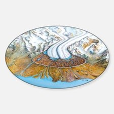 Retreating glacier Sticker (Oval)