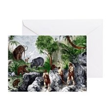 Prehistoric humans and animals Greeting Card