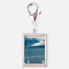 Humpback whales exhaling Silver Portrait Charm