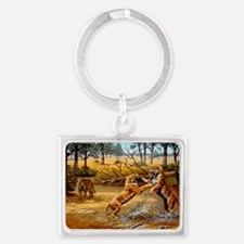 Sabre-toothed cats fighting Landscape Keychain