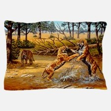 Sabre-toothed cats fighting Pillow Case