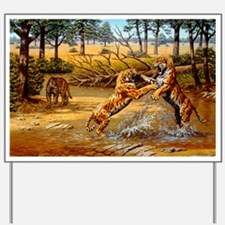 Sabre-toothed cats fighting Yard Sign