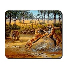 Sabre-toothed cats fighting Mousepad