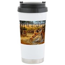 Sabre-toothed cats fighting Thermos Mug