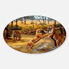 Sabre-toothed cats fighting Sticker (Oval)