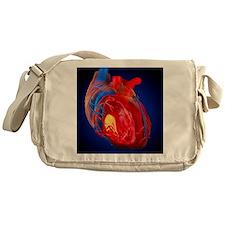 Structure of a human heart, artwork Messenger Bag