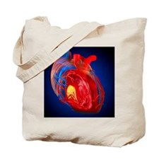 Structure of a human heart, artwork Tote Bag