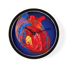 Structure of a human heart, artwork Wall Clock