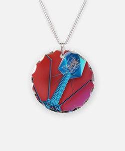 T4 bacteriophage virus, comp Necklace Circle Charm