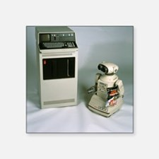 "IBM 5110 and Omnibot 2000 r Square Sticker 3"" x 3"""