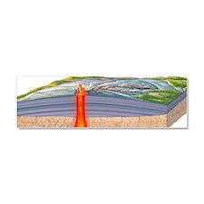 Shield volcano erupting, artwork Car Magnet 10 x 3