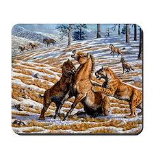 Scimitar cats attacking a horse Mousepad