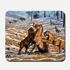 Scimitar cats attacking a horse Mousepad