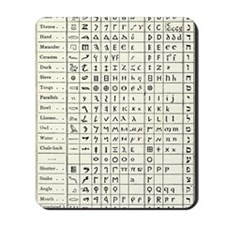 Table comparing ancient scripts Mousepad