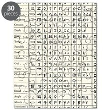 Table comparing ancient scripts Puzzle