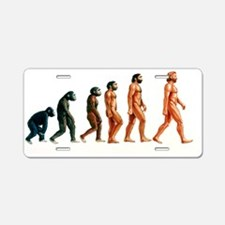 Stages in human evolution Aluminum License Plate